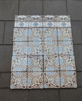 Antique floor tiles model: Jugendstil ceramic motif tiles